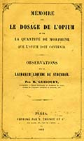 Memoire sur le Dosage de l'Opium